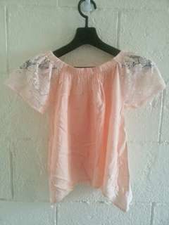 Laced off-shoulder cropped top