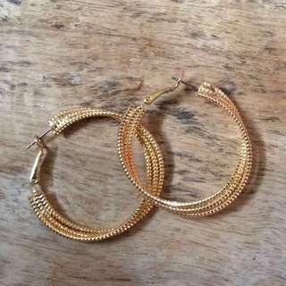 Asymmetrical Gold Hoop Earrings from Japan