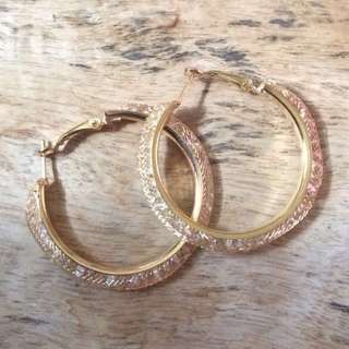 Gold with Crystal Stones Hoop Earrings from Japan