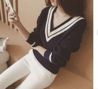 BNEW Contrast Trim V-Neck Sweater