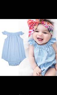 Baby Girl Denim  Sky Blue Romper Ruffles Bodysuit Cute Newborn Infant Children Kids [PO]