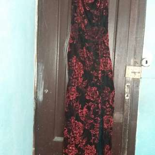 Red and black long dress