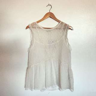 Pull & Bear White Lace Top