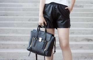 Leather look shorts - size small/medium