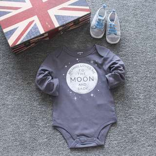 Baby Romper B17 – Long Sleeve Grey Moon Romper