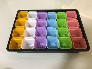 (Mini plant pots) Multi colour small thick pot (plastic)