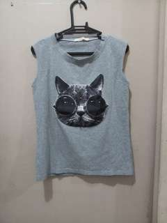 REPRICED! Muscle Top with Cat Design
