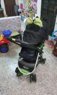 二手 Graco 購物型 雙向 嬰兒手推車+ Graco推車雨衣