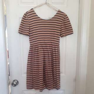 Tan and Navy Striped Dress