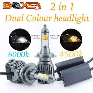 Dual color LED headlight