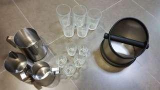 Wts: milk pitcher cups glass knockbox