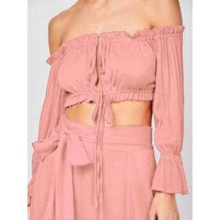 Bohemian Pink Off Shoulder and Skirt Set