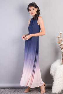 Christabel Ombre Slit Maxi Dress in Pink