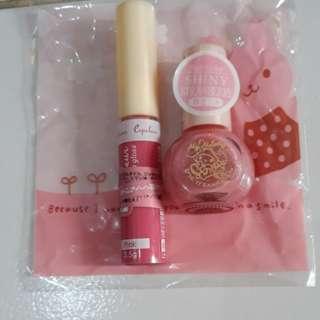 1 set lipgloss dan kutek warna pink