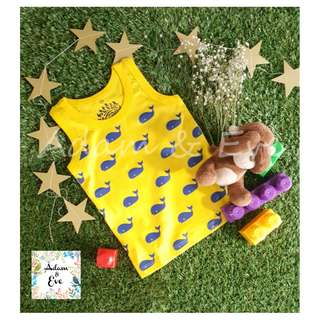Unisex Baby Top D7-4 – Whales Print Top (yellow)