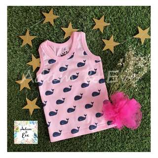 Unisex Baby Top D7-6 – Whales Print Top (Pink)