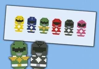 Power ranger cross stitch bookmark