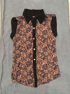 Flower Patterned Sleeveless Top