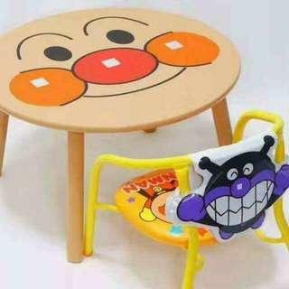 圓形面包超人木桌連BB發聲椅,WHATSAPP📲53617139下單😘