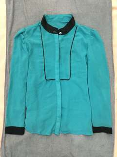 Blue Green Long Sleeved Office Top