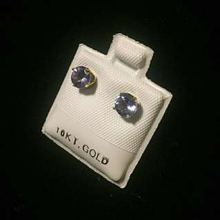 10 kt yellow gold 0.95 ct tanzanite earrings