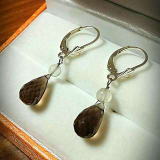 Sterling silver with smokey topaz Earrings