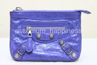 Authentic Balenciaga FW 2011 Blue Lavande Giant Silver Hardware Coin Pouch