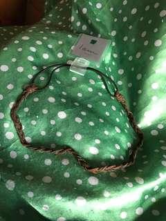 全新 韓國新款 啡色鐵鍊綁繩 扎辮款頸鏈 首飾款sw