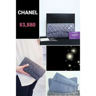90% New CHANEL A68705 薰衣草色 漆皮 CC Logo 長銀包 旅行錢包 手拿包 Lavender Purple Patent CC Logo Travel Long Multi Wallet