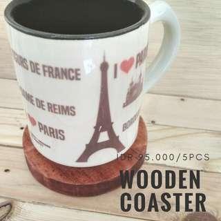 Wooden coaster alas gelas kayu isi 5