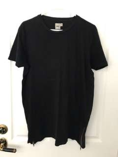 Long Black Asos Tee with Zipper Sides