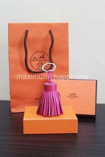 AUTHENTIC HERMES PINK CARMEN TASSEL POM POM CHARM / KEY HOLDER