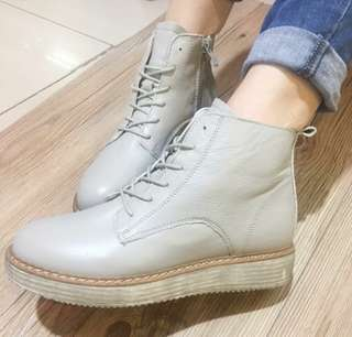 Gray Leatherette Lace Up Boots size 35 36