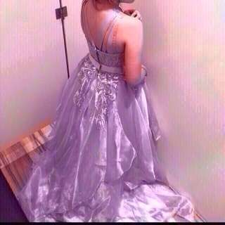silver gray gown for rent