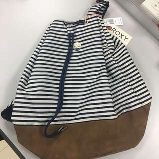 Roxy White & Blue Stripes Canvass Drawstring Bag with Leather Bottom