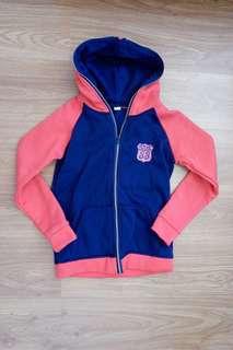 Red navy blue hoodie zip up jacket
