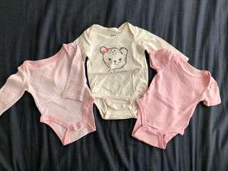 3 sets Baby girls newborn bodysuit