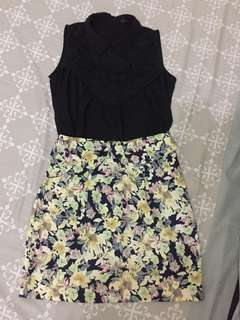 Branded Lace Top and Floral Skirt