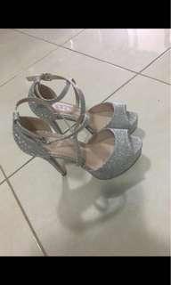 Silver glitter heels - wedding shoes