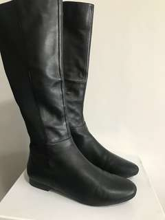 Jo Mercer Black Leather Leg Boots