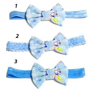 Handmade Korean Style Japanese Kimono Flower Light Blue Zan Wind Crepe Fabric Hair bow Elastic Headband