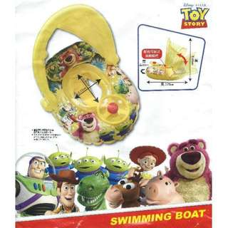 (Free Delivery) Disney Pixar Toy Story Inflatable Baby Float Swim Ring Seat with Steering Wheel and Canopy Shade