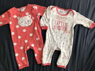 2 sets miki baby sleepsuit