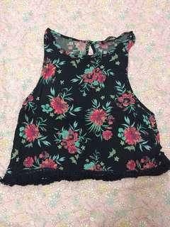 Black Floral Sleeveless