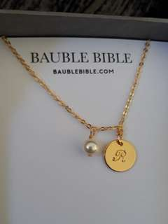 Bauble Bible Liv Monogram Necklace Inisial R