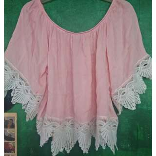 Pink Off shoulder/or not top with laces