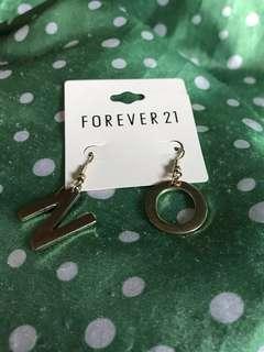 Forever 21 金色 N O 吊飾 耳環 韓國新款吊牌款 首飾款sw