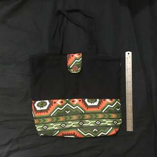 Black Aztec Pattern Canvas Bag