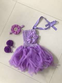 Baby toddler girl purple tutu party dress + imitation rhinestone pearl headband + barefoot sandals