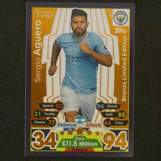 17/18 Match Attax BRONZE Limited Edition - Sergio AGUERO #Manchester City 曼城
